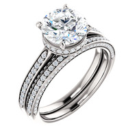 Flawless 2 Carat Round Cubic Zirconia Hidden Halo Engagement Ring & Matching Band