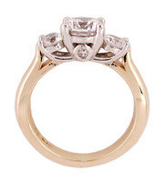 Surprise Stone Three Stone Ring in Solid 14 Karat White & Yellow Gold