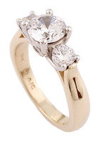 Flawless 1 Carat Round CZ Three Stone Ring in Two-Tone Solid 14 Karat Yellow Gold