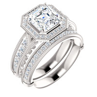 Stunning 2 Carat Asscher Cut Cubic Zirconia Estate Style Wedding Set in Solid 14 Karat White Gold