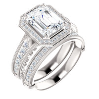 Hand Cut & Polished 2 Carat Emerald Cut Cubic Zirconia Engagement Ring & Matching Band in Solid 14 Karat White Gold