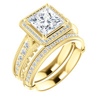 Stunning 2 Carat Princess Cut Cubic Zirconia Engagement Ring & Matching Band in Solid 14 Karat Yellow Gold