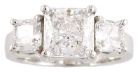 2 Carat Princess Cut CZ 3 Stone Wedding Set
