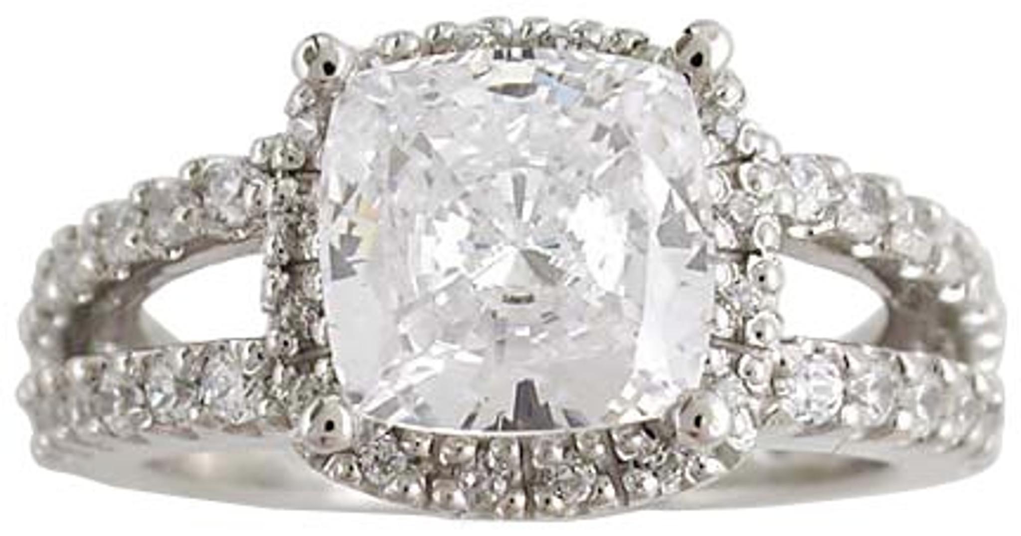 2 50 Carat Cushion Cut Cz Vintage Style Engagement Ring