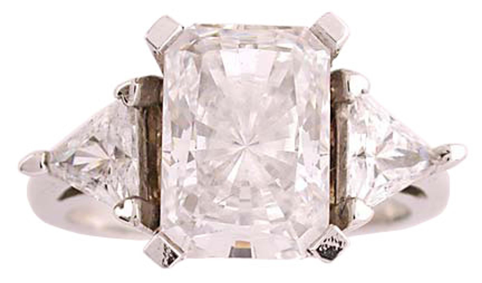 167300563cfc0 3 Carat Radiant Emerald Cut CZ Three Stone Ring