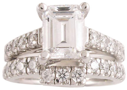1.50 Carat Emerald Cut CZ Wedding Set