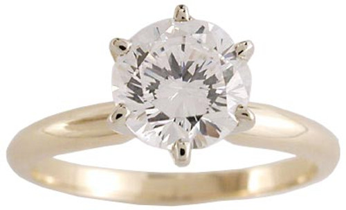 1 Carat Round CZ Solitaire Engagement Ring