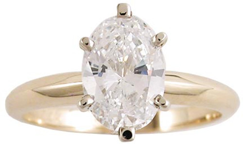 1 Carat Oval Solitaire in 14k Yellow Gold