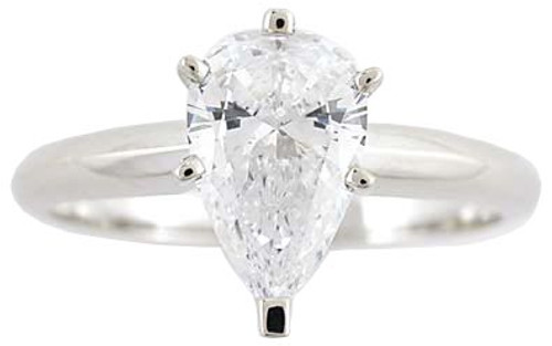 1 Carat Pear CZ Solitaire Engagement Ring