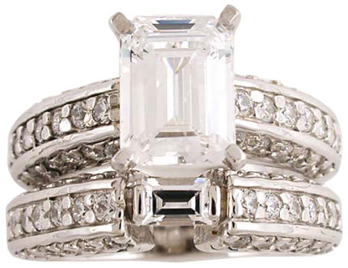 1.50 Ct Emerald Cut Wedding Set