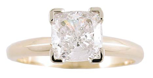 1 Carat Cushion Cut in 14 Karat Yellow Gold