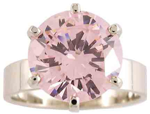4.00Ct Pink Round Cubic Zirconia Wide Band Solitaire