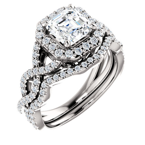 1.00ct Asscher Cut 14Kt White Gold Custom Halo Engagement Ring With Matching Band