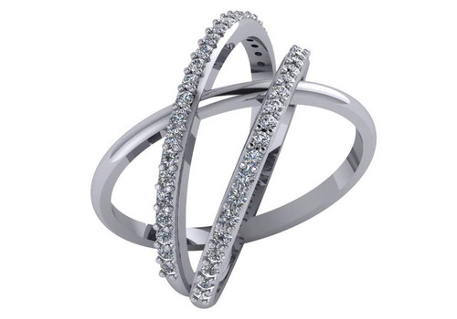 CZ Triple Criss Cross Ring