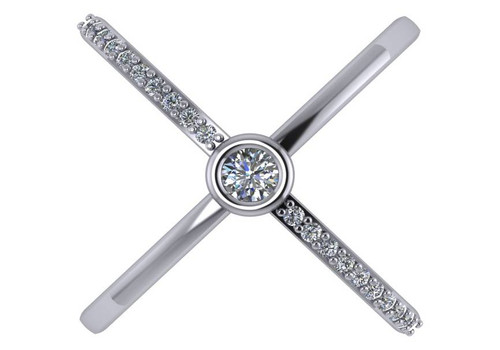 Bezel Set CZ Criss Cross Ring