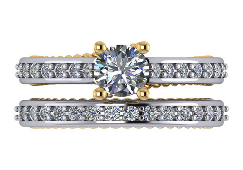 Stunning Two Tone CZ Wedding Set