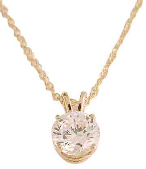 Hand Cut & Polished .90Ct Round Brilliant Cut Cubic Zirconia Pendant