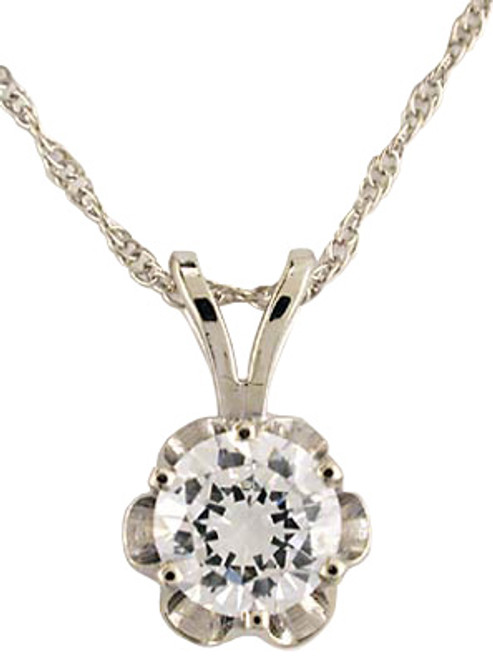 Stunning Hand Cut & Polished 1.00Ct Brilliant Cut Round Buttercup CZ Pendant