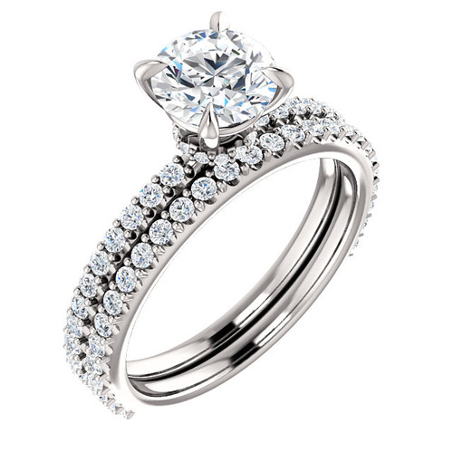 1 Carat Round Cubic Zirconia Wedding Set in 14 Karat White Gold
