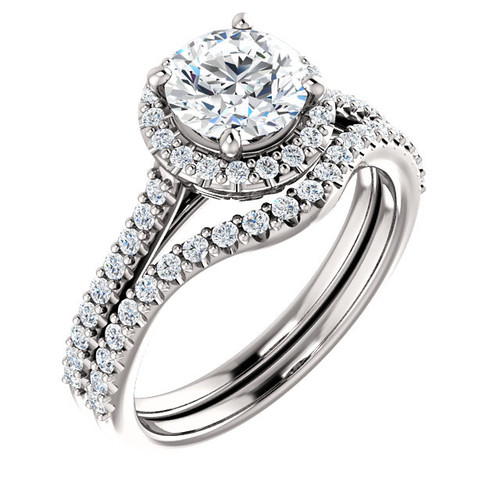 1 Carat Round Cubic Zirconia Wedding Set