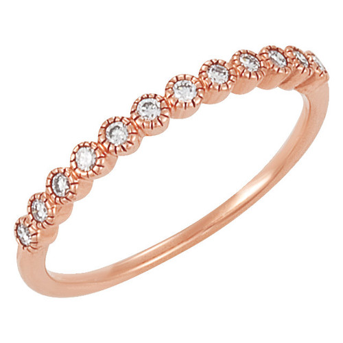 Fine Cubic Zirconia Stackable Wedding or Anniversary Band in Solid 14 Karat Rose Gold