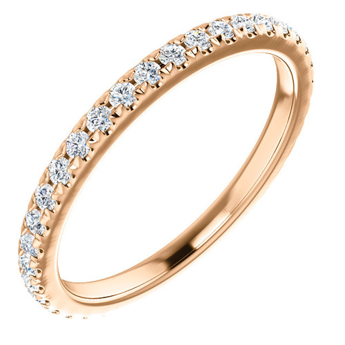 Beautiful Mismatched Bridal Band in Solid 14 Karat Rose Gold