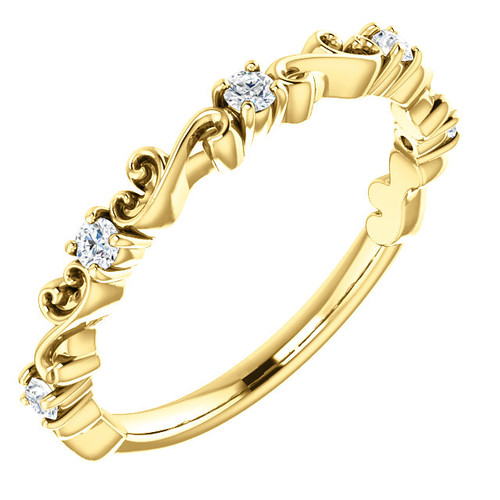 Highest Quality Cubic Zirconia Stackable Band in Solid 14 Karat Yellow Gold
