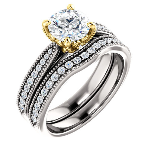 1 Carat Round Cubic Zirconia Bridal Set in Two-Tone Solid 14 Karat White and Yellow Gold Setting