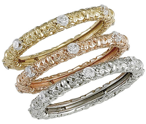Stunning Cubic Zirconia Bridal Stack Rings