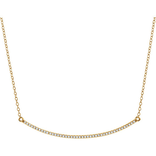 Solid 14 Karat Yellow Gold Cubic Zirconia Necklace
