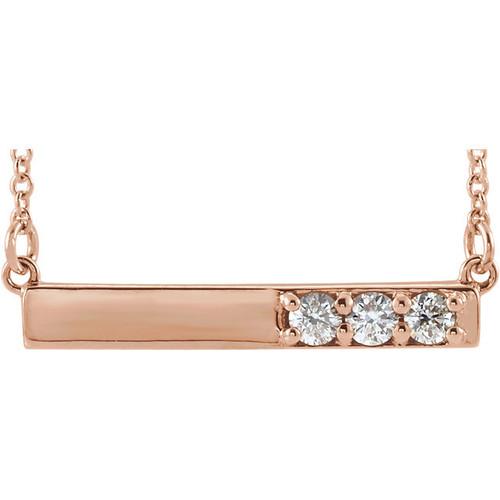 Solid 14 Karat Rose Gold CZ Necklace