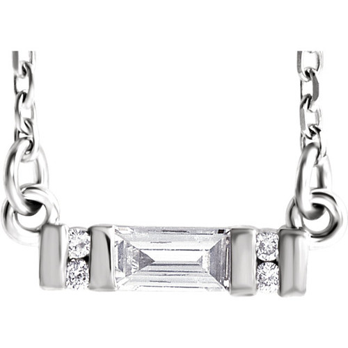 Solid 14 Karat White Gold CZ Setting