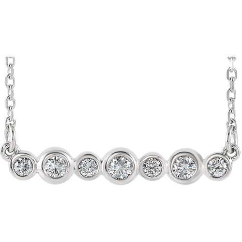 Solid 14 Karat White Gold Bezel Set Necklace