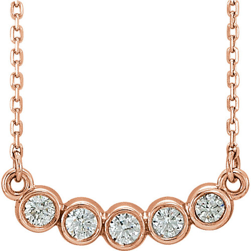 Solid 14K Rose Gold Bezel Round Necklace Setting