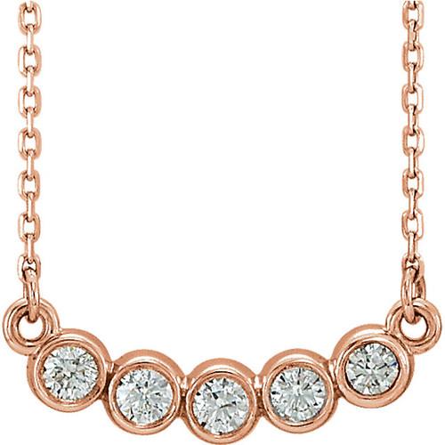 Solid 14K Rose Gold Bezel Round Necklace Setting