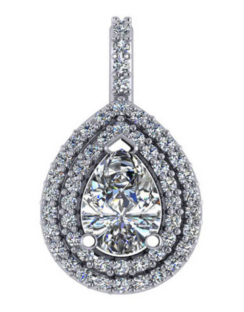 14Kt White Gold Double Halo 1.00Ct Pear Pendant