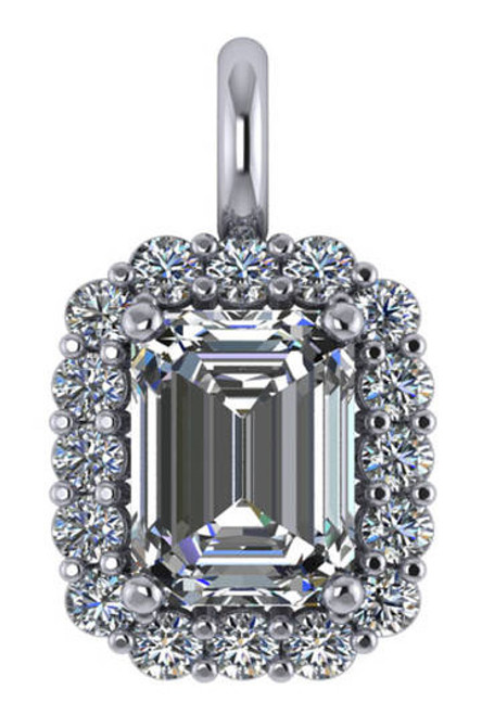 Flawless 1.00 Carat Hand Cut & Polished Cubic Zirconia Emerald Cut Halo Pendant