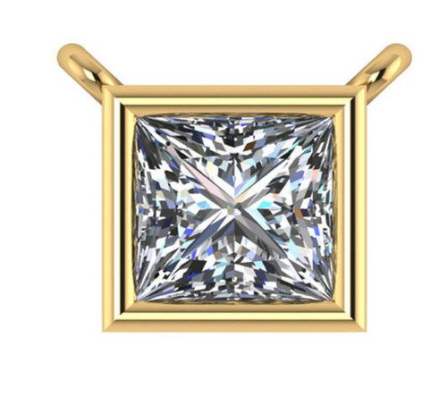 Highest Quality 1.00Ct Princess Cut Bezel Cubic Zirconia Pendant