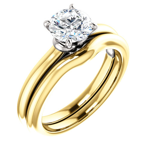 Flawless 1 Carat Round Cubic Zirconia in Solid 14 Karat Yellow Gold