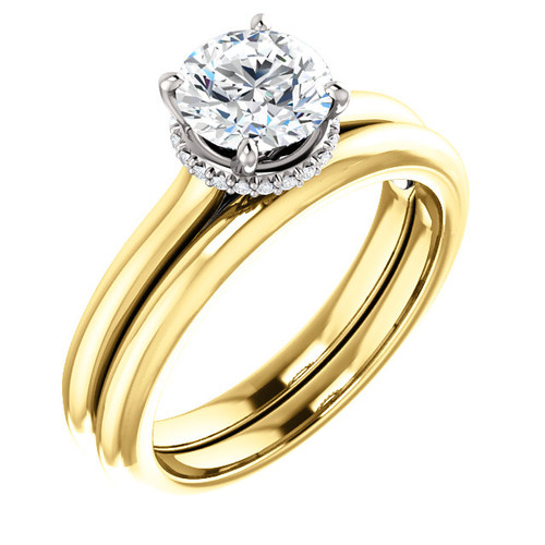 Flawless 1 Carat Cubic Zirconia in Solid 14 Karat Yellow Gold & White Gold Accents