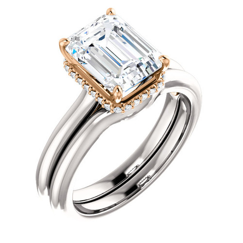 Hand Cut & Polished 2 Carat Emerald Cut Cubic Zirconia Solitaire Wedding Set in White Gold & Pink Gold Accents