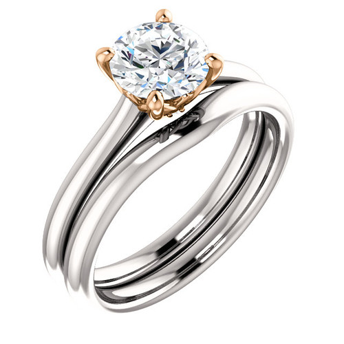 Flawless 1 Carat Cubic Zirconia Two Tone Engagement Ring in White Gold & Rose Gold Accents