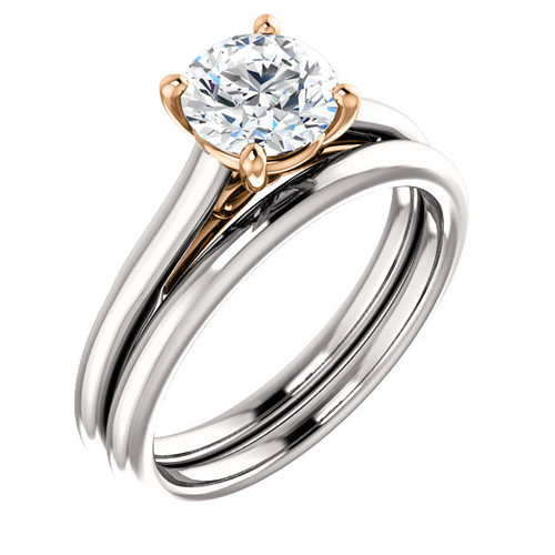 Flawless 1 Carat Round Cubic Zirconia in Solid 14 Karat White & Pink Gold Accents