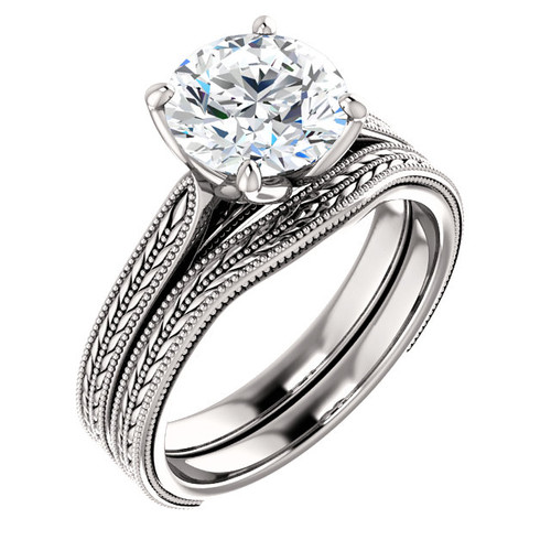 Hand Cut & Polished 2 Carat Cubic Zirconia in Solid 14 Karat White Gold