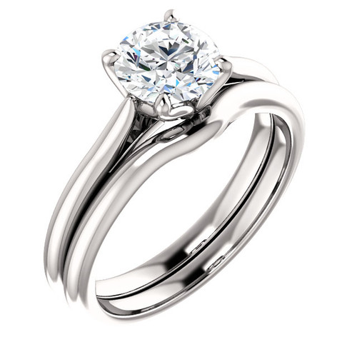 Flawless 1 Carat Cubic Zirconia Solitaire in Solid 14 Karat White Gold