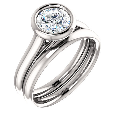 Hand Cut & Polished 1 Carat Cubic Zirconia Solitaire Engagement Ring