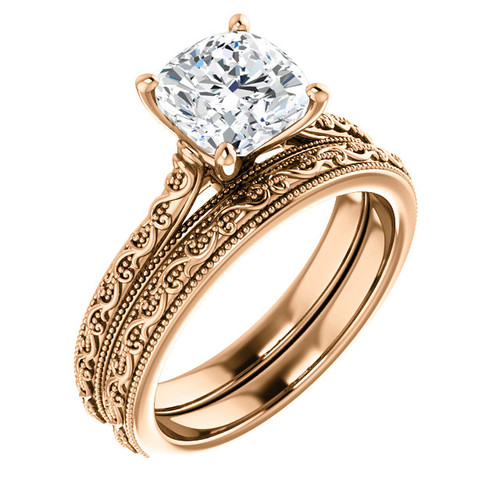 2 Carat Cushion Cut Cubic Zirconia Solitaire Engagement Ring in Solid 14 Karat Pink Gold