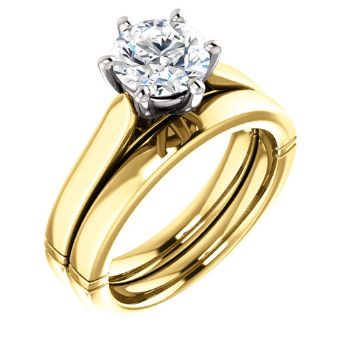 Brilliant 2 Carat Round Cubic Zirconia Solitaire Engagement Ring & Matching Wedding Band in Solid 14 Karat Yellow & White Gold