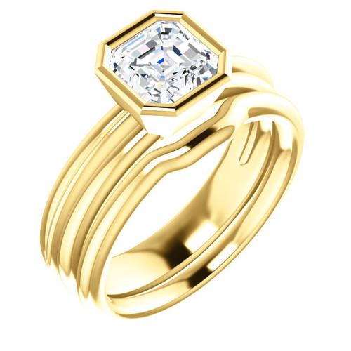 Stunning 1 Carat Asscher Cut Cubic Zirconia Bezel Set Engagement Ring & Matching Band in Solid 14 Karat Yellow Gold