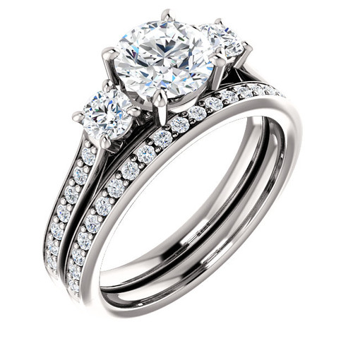 Hand Cut & Polished 1 Carat Round Cubic Zirconia Three Stone Engagement Ring & Matching Wedding Band